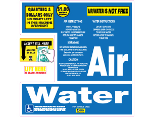 air and water label for front of machine dollar bill acceptor wca